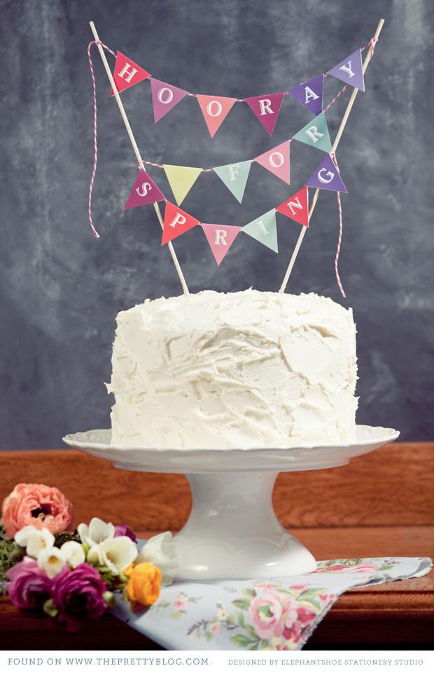 banderas colgantes para decorar tartas