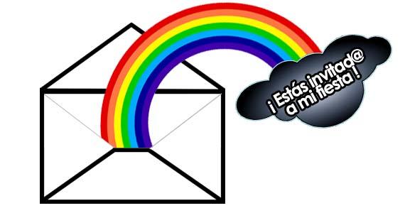 invitaciones infantiles de arco iris