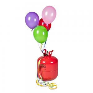 bombonas de helio con globos de latex